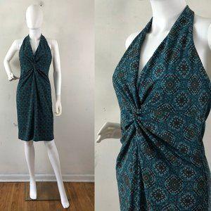 Vintage Dress 90s LAUNDRY Shelli Segal Halter Teal